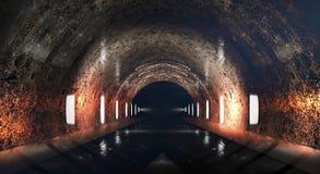 Round underground tunnel, cave, mine. Illumination by neon light. royalty free illustration