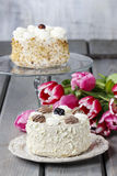 Round vanilla cake on cake stand Royalty Free Stock Photo