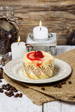 Round vanilla torte with cherry Stock Photo