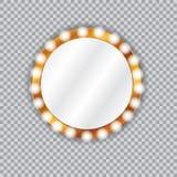 Round vanity mirror with light bulbs stock illustration