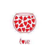 Round vase with hearts. Love card. Royalty Free Stock Photo