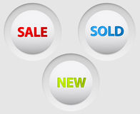 Round vector 3D white buttons for sale Stock Photo
