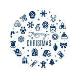 Round vector banner Merry Christmas with festive icons silhouettes. Isolated on white background illustration royalty free illustration