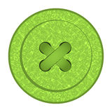 Round vector button with green sewing texture holes and thread Stock Photo