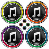 Round vector button with music note icon Stock Photos