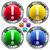 Round vector button set with exclamation point ico Royalty Free Stock Photography