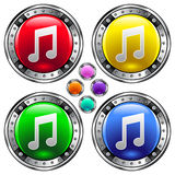 Round vector button set with music note ico Stock Photo