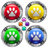 Round vector button set with pet paw print ico. Shiny round vector button set with pet paw print icon on colorful background Stock Photos