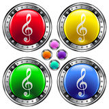 Round vector button set with treble clef ico. Shiny round vector button set with treble clef icon on colorful background Stock Image