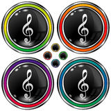 Round vector button with treble clef icon. Shiny round vector button set with treble clef icon on black background Royalty Free Stock Image