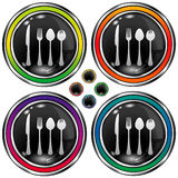 Round vector button with utensils icon. Round shiny vector button with utensils icon on black background Stock Photo