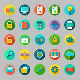 Round vector flat icons set with concepts of business, office work, marketing, seo. Stock Photo