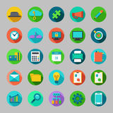 Round vector flat icons set with concepts of business, office work, marketing, seo. Royalty Free Stock Photos