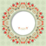 Round vector frame with floral ornament Stock Image