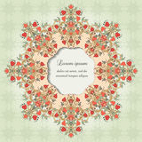 Round vector frame with floral symmetrical elements Royalty Free Stock Photos