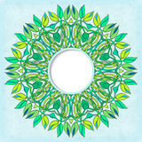 Round vector frame with floral symmetrical ornament Stock Photo