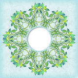 Round vector frame with floral symmetrical ornament Stock Photography