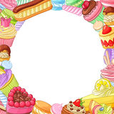 Round vector frame with variety of assorted desserts. Round vector frame with variety of bright colorful assorted desserts, pastries, sweets, candies, cupcakes Stock Images