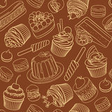 Round vector frame with variety of assorted desserts. Round vector frame with variety of bright colorful assorted desserts, pastries, sweets, candies, cupcakes Stock Photos