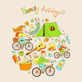 Round vector illustration with friendly family and camping equip Stock Image