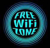Round vector neon icon labeled free Wi fi zone on a black backgr. Ound Royalty Free Stock Images