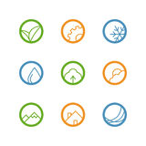 Round vector outline icon set Stock Image