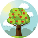 Round vector picture tree apples apple  among the clouds and sun on blue sky Royalty Free Stock Photography