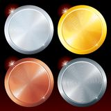 Round Vector Plates. Round Metal Plates. Brushed Golden, Silver, Platinum and Copper Texture Royalty Free Stock Photos