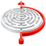 Round Vector Red Avoided 3D Maze. A 3D rounded, thick walled Maze, avoided by a red line ending with an Arrow Royalty Free Stock Images