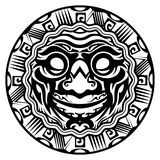 Round Vector Smiling Face Polynesian Tattoo. Isolated White Background Royalty Free Stock Image