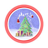 Round vector sticker for the winter holidays in a flat style. Dressed Christmas tree, boxes with gifts and originalyanaya inscript Royalty Free Stock Image