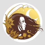 Young woman`s head with flowing long hair. Vector illustration in boho style. Round vector template with pretty girl`s portrait in retro style Stock Images