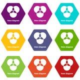 Round venn diagram icons set 9 vector. Round venn diagram icons 9 set coloful isolated on white for web Royalty Free Stock Photography