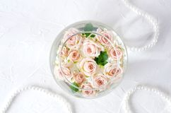 Round vessel with water and small peach roses stock photos