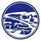 Round vignette with winter landscape. Round vignette with blue winter landscape Stock Image
