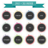 Round vintage calendar 2013. In vector 12 months all year Stock Photos