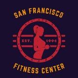 Round vintage emblem, logo, gym t-shirt print Royalty Free Stock Photo