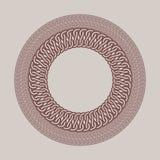 Round vintage frame for logos. Original weaving macrame. Royalty Free Stock Image