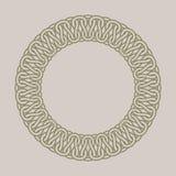 Round vintage frame for logos. Original weaving macrame. Royalty Free Stock Photography