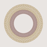 Round vintage frame for logos. Original weaving macrame. Royalty Free Stock Images
