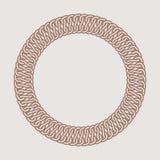 Round vintage frame for logos. Original weaving macrame. Stock Image