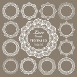 Round vintage lace frames, white napkins for elegant wedding invitation card, text or photo. Laser cut set, round mandala ornament Royalty Free Stock Photography