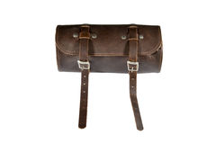 Round vintage leather tool Bag with isolated on white background, pannier or luggage Royalty Free Stock Photo