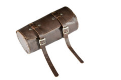 Round vintage leather tool Bag with isolated on white background, pannier or luggage Stock Photo