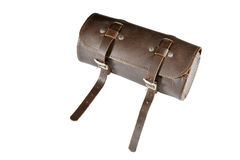 Round vintage leather tool Bag with isolated on white background, pannier or luggage Stock Photography