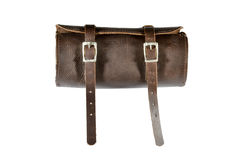 Round vintage leather tool Bag with isolated on white background, pannier or luggage Royalty Free Stock Photos