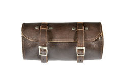 Round vintage leather tool Bag with isolated on white background, pannier or luggage Royalty Free Stock Photography