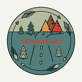 Round vintage sticker Adventure. The road, the arrows, mountains, fir trees. Symbol of free travel. Camper tourism. Van life label royalty free illustration