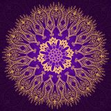Round vintage violet and gold pattern Royalty Free Stock Image