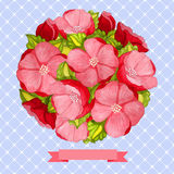 Round vintage watercolor bouquet of pink flowers Royalty Free Stock Photo